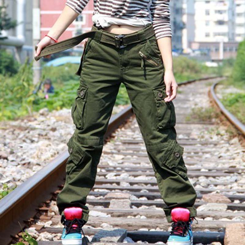 Free Shipping New Arrival  Cargo Pants Women Hip Hop  Army GreenLoose Jeans Baggy Pants For Women Plus Size