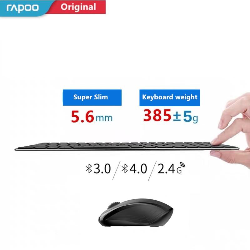 Alkuperäinen Rapoo 9060 / 9060M -näppäimistö ja hiiri-setti Ultraohut 2.4G langaton optinen näppäimistö ja hiiriyhdistelmät PC-kannettaville