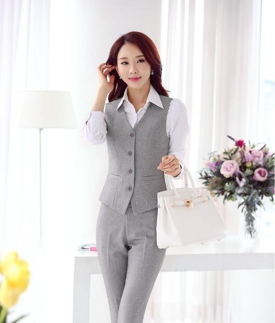 Nuevo Profesional Trajes de Negocios Con Chaleco Y Pantalones de Ropa de Trabajo Formal de Negocios Otoño Primavera Señoras Blazers Pantalones Fijados