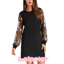 Women Botanical Embroidered Mesh Sleeve Longline Pullover Elegant Black Long Sleeve Lantern sleeve dress drop shipping Jan 18 frill trim embroidered lantern sleeve dress