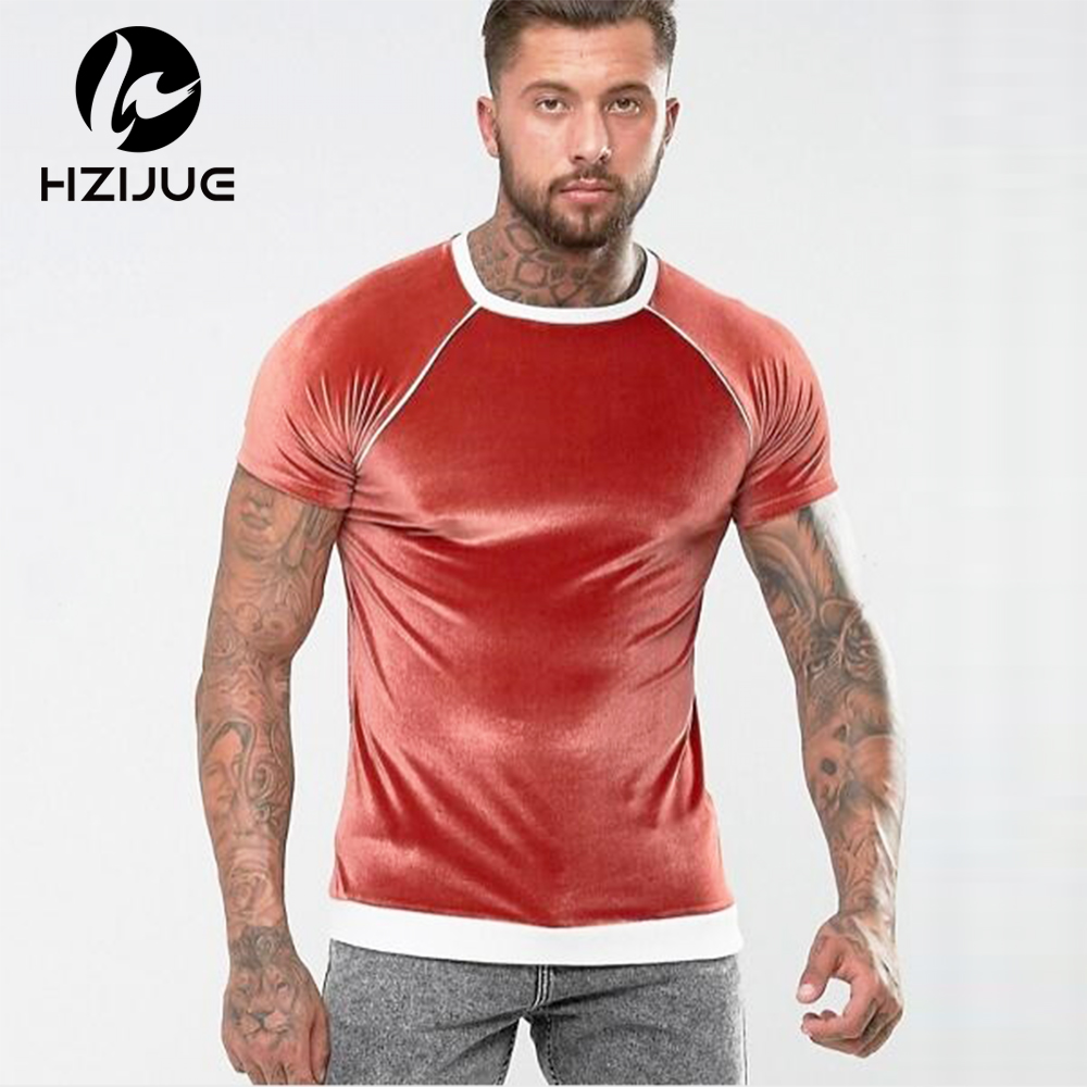 HZIJUE 2018 Men Swag Hip hop Skate Tshirt Tops Velour Summer Skateboard Tee Boy Hot Sale Fitness Oneck short sleeve t shirt men