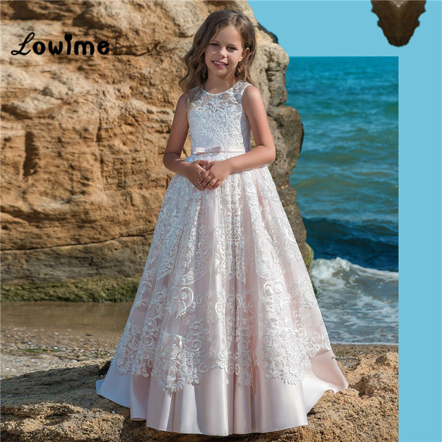 a92fdd64073 Pink Satin Flower Girl Dresses Beautiful Girls Pageant Dress First  Communion Dresses For Girls Custom Made With Lace Applique .