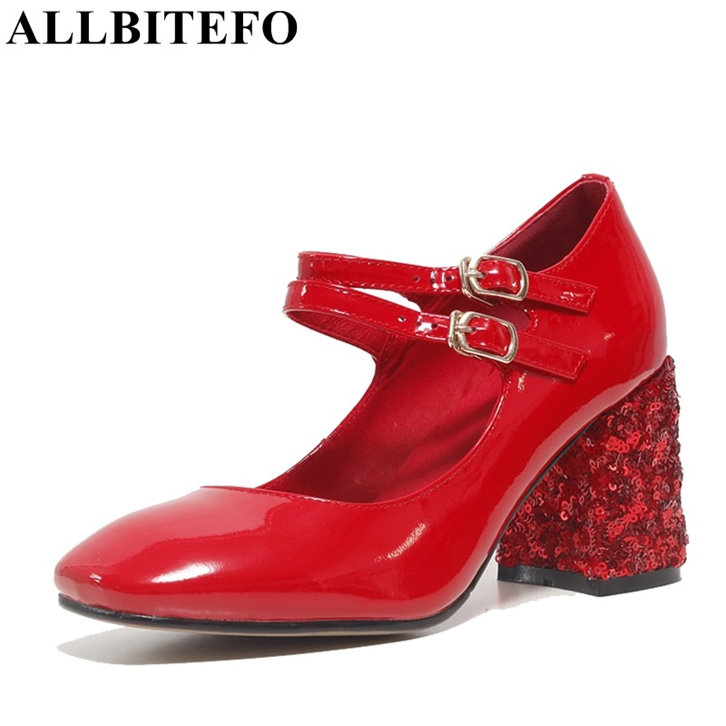 ALLBITEFO Sequins heel design full genuine leather square toe high heels women pumps 2017 spring ankle buckle sweet party shoes xexy small square toe medium heels natural leather women shoe spring autumn buckle strap dance party sweet platform women pumps