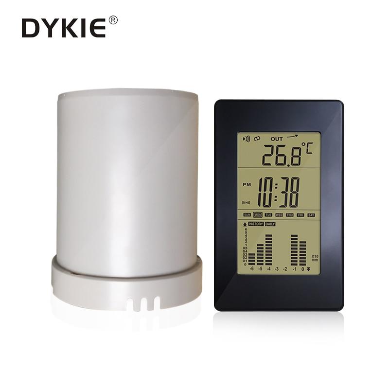LCD Digital Rain Gauge Wireless Meter Rainfall Statistics Recorder Outdoor Temperature Weather Station C/F Selectable