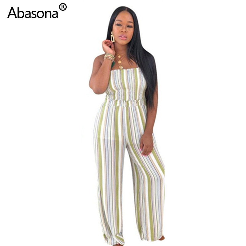 Abasona New Sleeveless Strapless Open Back Loose Striped Full Length Pencil Jumpsuit Fashion Sexy Casual Rompers for Party(China)