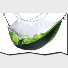 Portable Mosquito Net Camping Hammock Outdoor Parachute Camping Hanging Sleeping Bed Swing Dark Green Nylon Taffeta White Gauze(China)