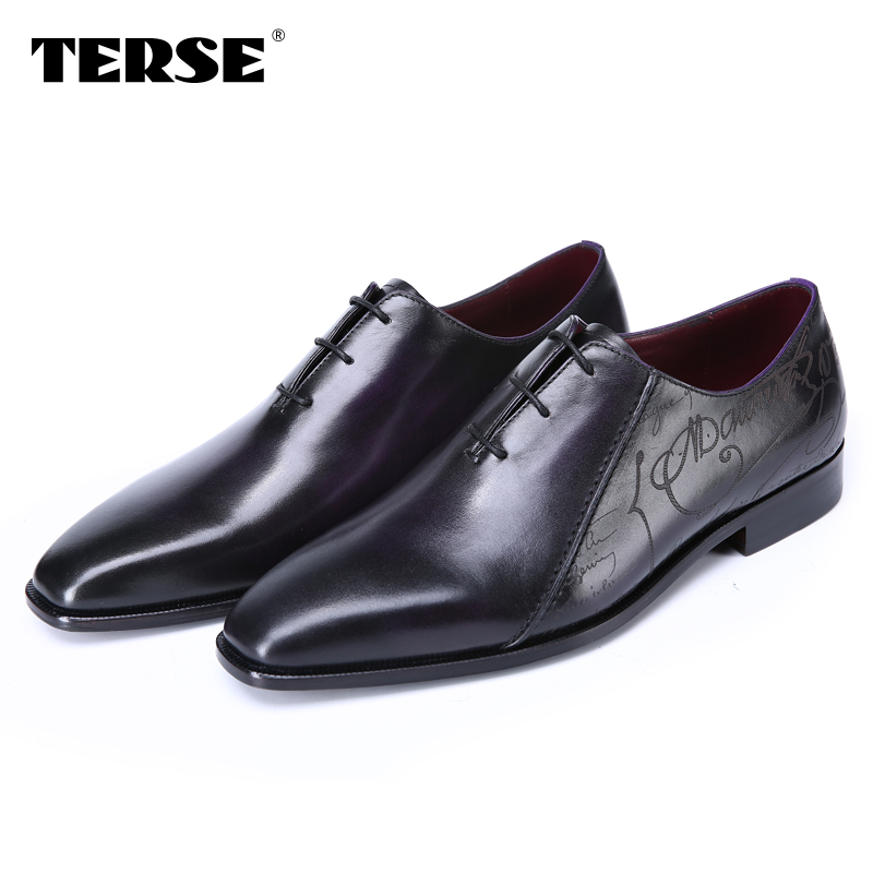 TERSE_100% Handmade shoes Genuine Italian Leather Luxury style Men Shoes Lace-Up Business Casual Shoes Fashion Flats shoes 026 hot sale italian style men s flats shoes luxury brand business dress crocodile embossed genuine leather wedding oxford shoes