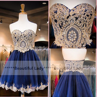 Wonderful Navy Blue Short Prom Dresses With Gold Appliques Sweetheart Neckline A Line Knee Length Cheap