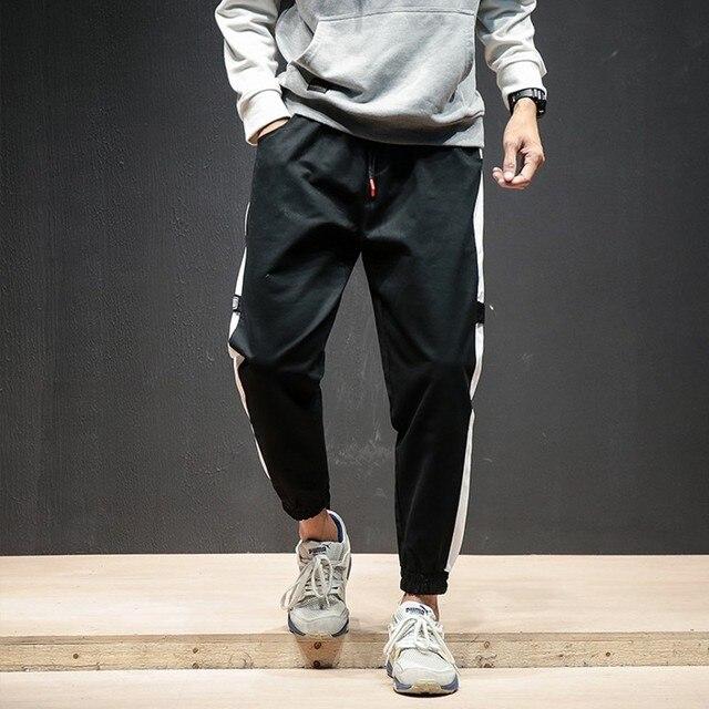3d4e01664f5 2018 New Mens Jogger Pants Ankle-Length White Striped Cotton Casual Pants  Men Plus Size Black Streetwear Trendy Trousers Male