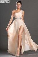 Free Shipping New Arrival Elegant One Shoulder Scoop Neckline Split Beaded Chiffon Evening Dress