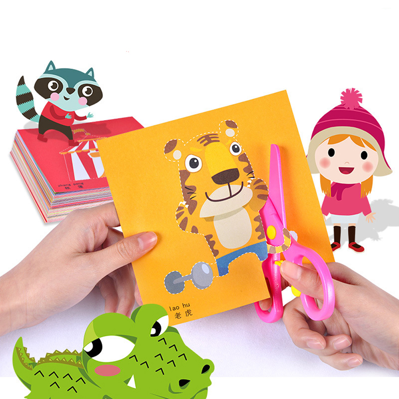 100pcs Kids Cartoon Color Paper Folding And Cutting Toys With Scissors Kindergarten DIY Art Craft Educational Toys For Children
