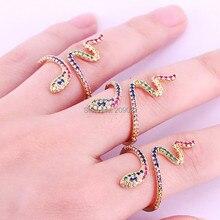 여자를위한 6 pcs 높은 quanlity 무지개 뱀 cz 반지 숙녀 선물 금 색깔 다채로운 입방 지르콘 유행 손가락 반지