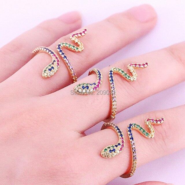 6 sztuk wysokiej jakości rainbow wąż pierścień cz dla kobiet prezenty dla pań złota kolor kolorowe Cubic cyrkon trendy palec pierścień
