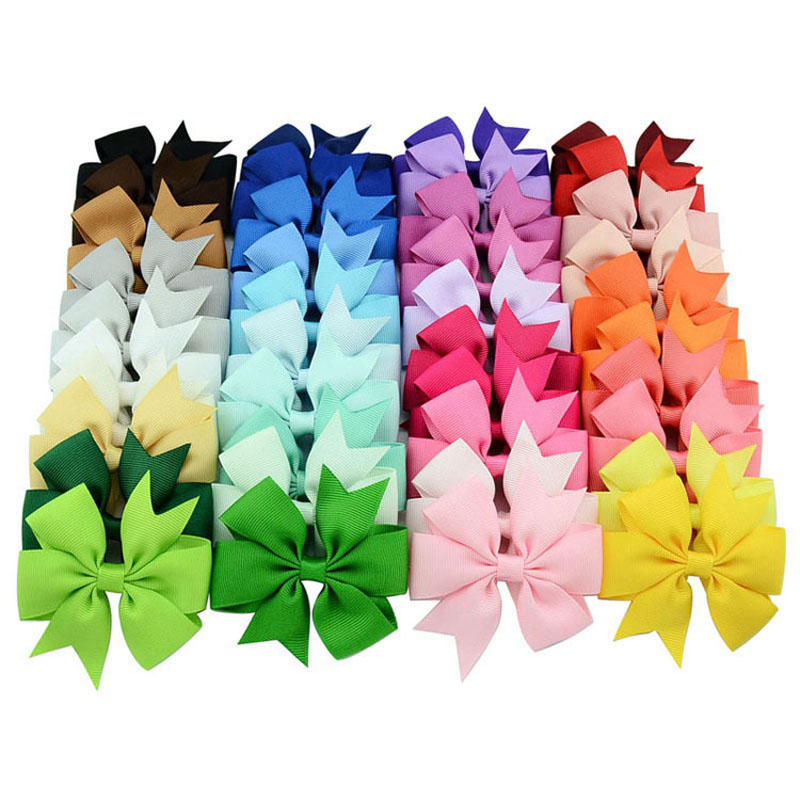 3 Inch Wholesale Newly Grosgrain Ribbon Solid Butterfly Bow Hairpins Hair Clips for Children Kids Girls Newborn Hair Accessories