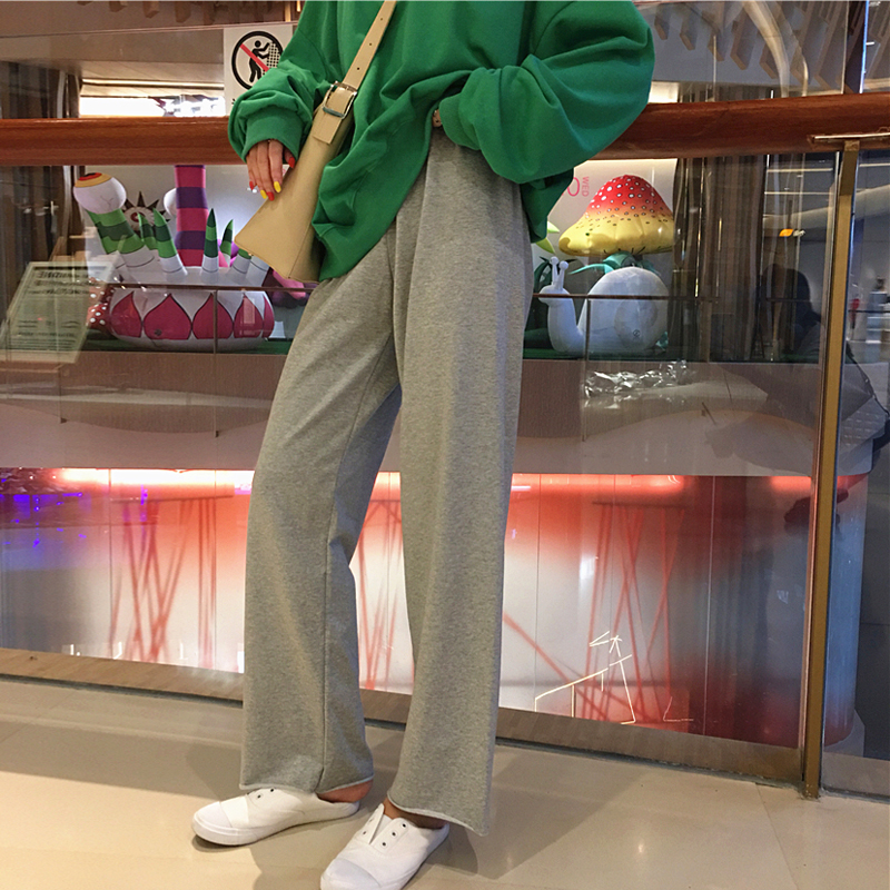 New Trousers Solid Color Summer Women   Wide     Leg     Pants   Leisure Loose Straight Trouser Simple Korean 2019 Preppy Roupas Femininas
