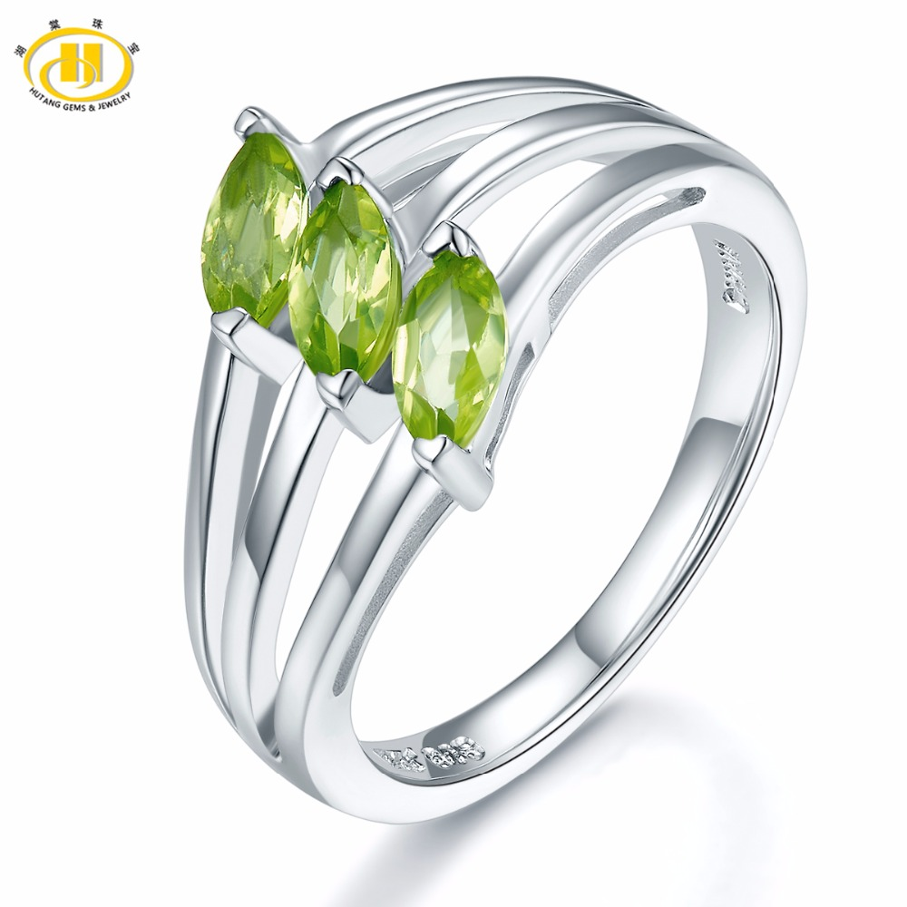 Hutang Stone Jewelry 0.84ct Natural Gemstone Peridot Solid 925 Sterling Silver Leaf Ring Fine Jewelry Best Gift For Women's Gift
