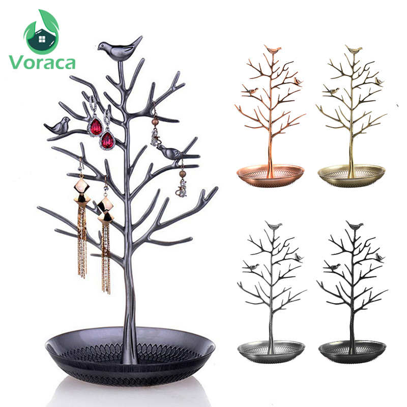 Bird Tree Jewelry Rack Bronze Metal Decorative Shelves Hanging Holder Multifunction For Earring Watch Bracelet Necklace Storage