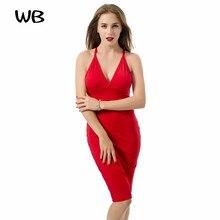 2016 reizvolle Neue Frauen Kleid Sleeveless Backless Knielanges Red Bodycon Kleid Berühmtheit Abend Party Kleid Verbandkleid