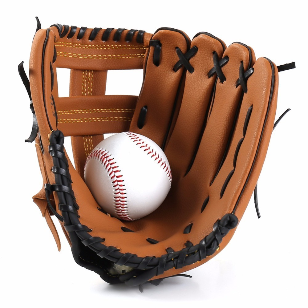 PVC Leather Brown Baseball Glove Softball Outdoor Team Sports Left Hand Baseball Practice Equipment 10.5/11.5/12.5
