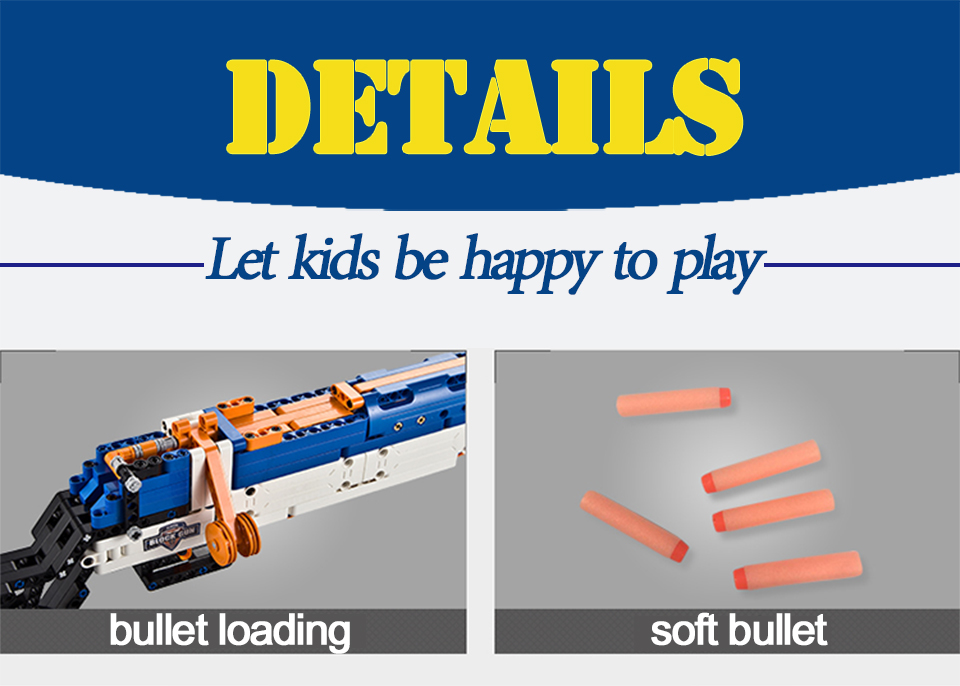 rubber band  gun  AK-47 Garand Rifle  Gun military bricks weapon set can fire building blocks toy for children gift 64