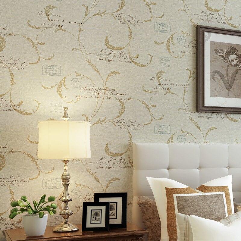 ФОТО beibehang papel de parede  Buttercup sweet potato leaves European wall paper alphabet wallpaper bedroom living room TV backdrop