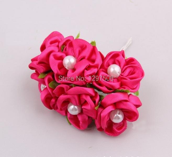 c8995bd282f98 Ręcznie wykonane tkaniny sztuczne wstążka satynowa róże, diy craft bukiet  ślubny, jedwabne kulki, spinki do włosów akcesoria, dekoracje na wianek