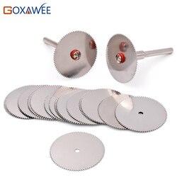 Discos de corte GOXAWEE herramientas rotativas Rueda de corte para herramientas dremel accesorios 10 Uds discos dremel con 2 uds mandriles 22/25/32mm