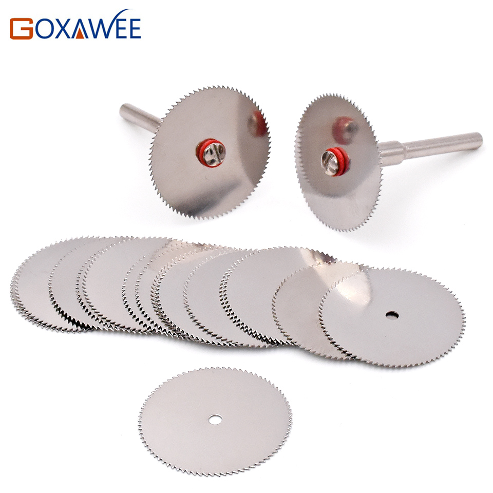 GOXAWEE Cutting Discs Rotary Tools Cutting Wheel For Dremel Tools Accessories 10pcs Dremel Discs With 2pcs Mandrels  22/25/32mm