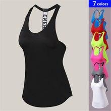 2e03a7519505f Hot Sexy Yoga Tops Femmes de Sport Remise En Forme Sans Manches Sport  T-shirt Femelle À Séchage Rapide D'été Gym Courir Jogger G..