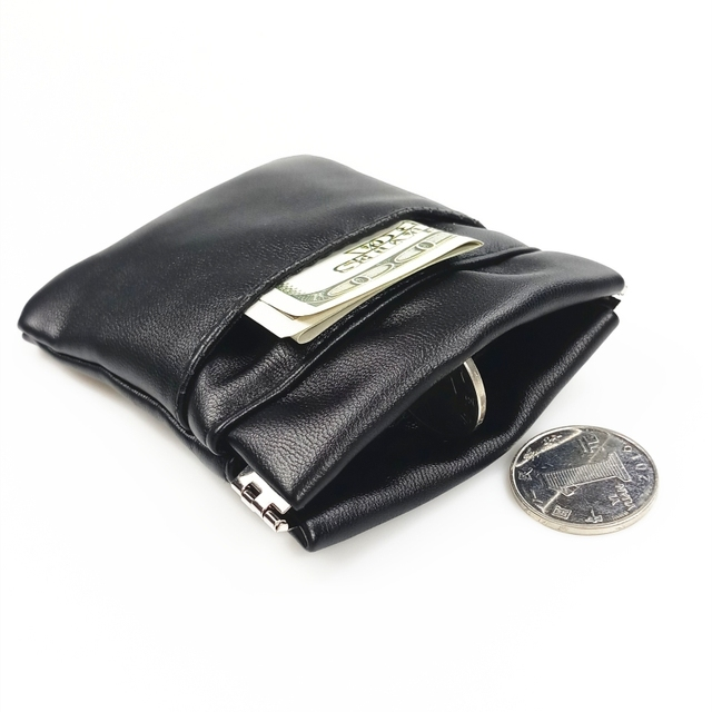 eee47241f927 2018 New Fashion Elastic Metal Solid Pu Leather Coin Purse Women Men Small  Mini Short Wallet Bags Change Little Key Card Holder