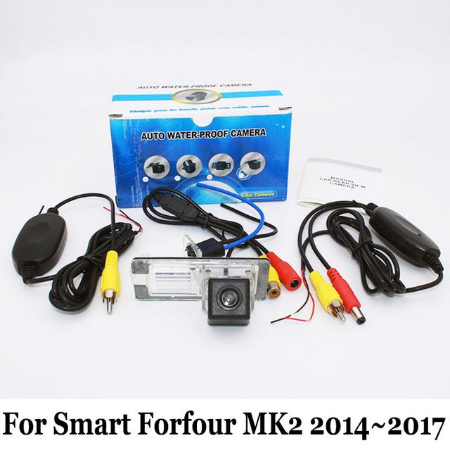 Para Smart Forfour II MK2 2014 ~ 2017/Posterior Del Coche Con Cable O Inalámbrica Cámara de visión/RCA HD Visión Nocturna del CCD/Lente Gran Angular cámara