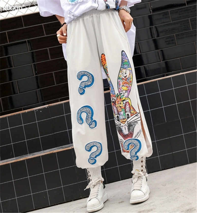 RUGOD 2019 summer women elastic waist cartoon printing Sequin pants casual lady street women  cotton pants
