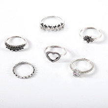New fashion personality love flower crystal set ring 6 piece combination joint jewelry holiday gift