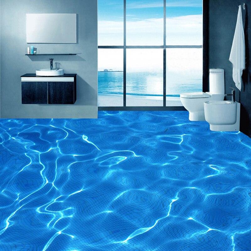Us 13 38 44 Off Custom Foto Boden Tapete Moderne Kunst 3d Blau Wasser Wellen Badezimmer Boden Wandbild Pvc Selbst Adhesive Wasserdichte Boden