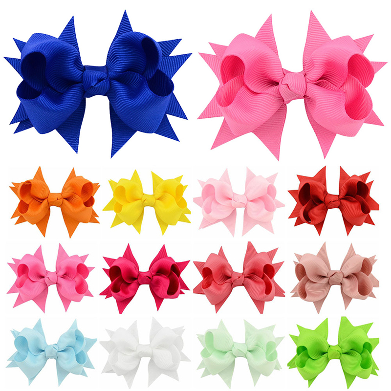 Fashionable big bow hairpin Colorful Solid Ribbon large Hair Bow Clips girls Boutique   headwear   wedding newborn Hair Accessories