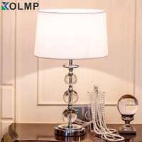 Nordic crystal table lamps for bedroom luxury crystal home art deco brief modern K9 crystal desk bed light with fabric lampshade