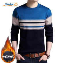 Covrlge 2017 Winter New Men's Pullovers Velvet Thick Warm Plaid Knitted Sweater Male Plus Size Clothes Christmas Sweater MZL025