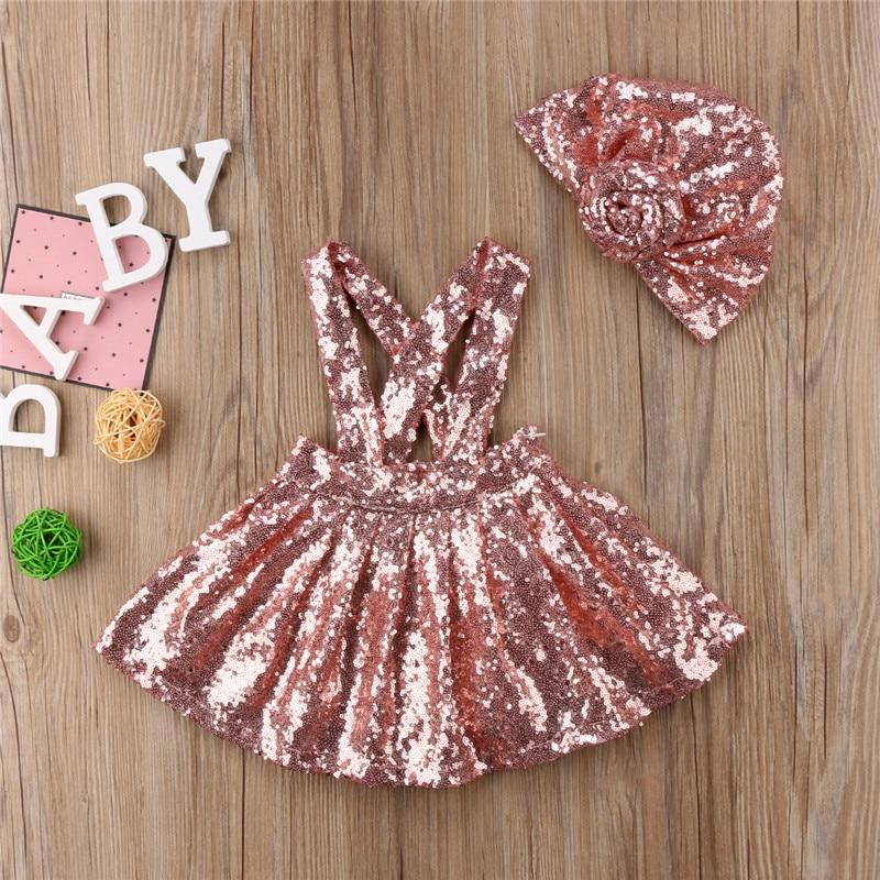 2 Stücke Kleinkind Kinder Baby Mädchen Pailletten Hosenträgerrock Overalls + Mode Hut Outfit Kleidung