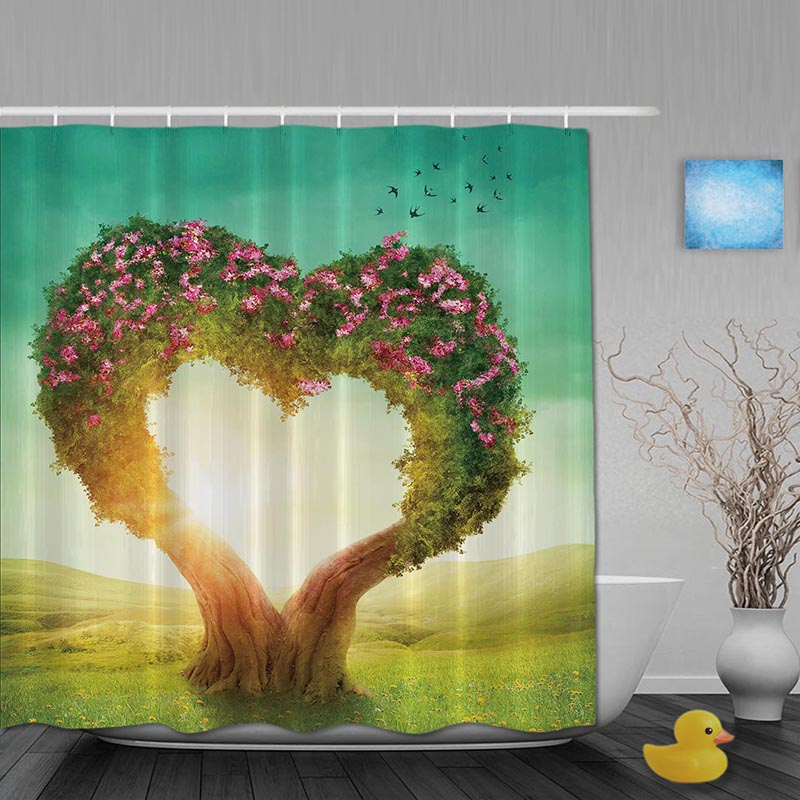 Wedding Decor Bathroom Shower Curtains Couples Love Tree Curtain Waterproof Polyester Fabric Hooks