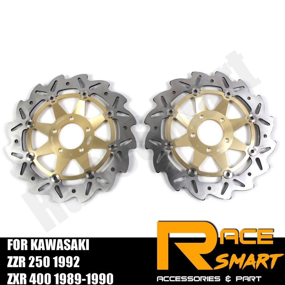Moto CNC Avant Disques De Frein Disques acier inoxydable rotor de frein Pour KAWASAKI ZZR 250 1992 ZXR 400 1989 1990 ZZR250 ZXR400
