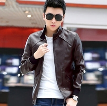 Quality 2014 winter warm PU motorcycle leather jacket men outerwear male slim stand collar short design leather coat M-4XL D2398