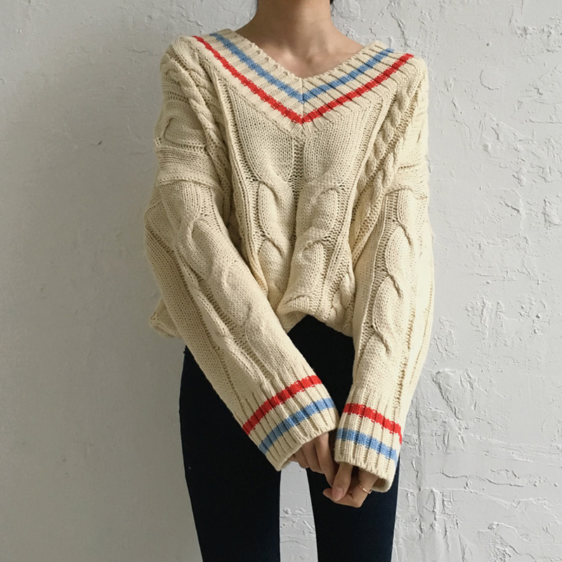 2 Colors 2017 Autumn And Winter Korean Style V Neck Twist Knitted Sweaters Womens Sweaters And Pullovers (b0857)