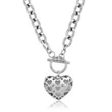 Moda de acero inoxidable 316l pvd oro rosa declaración choker collares para las mujeres colgantes del corazón joyería de calidad superior al por mayor