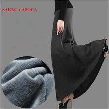 新到着秋と冬のスカートのファッション女の子プラスサイズ厚手の生地ハイウエストトランペットロングスカート女性サイア Femininas