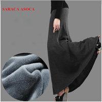New Arrival Autumn and Winter Skirt Fashion Girls Plus Size Thick Fabric High Waist Trumpet Long Skirt Female Saia Femininas