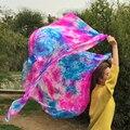 2016 новый окрашенных 100% натурального шелка велс для bellydancing сексуальная multi-цветы смешанный шелк покрывало 2.5 м размер