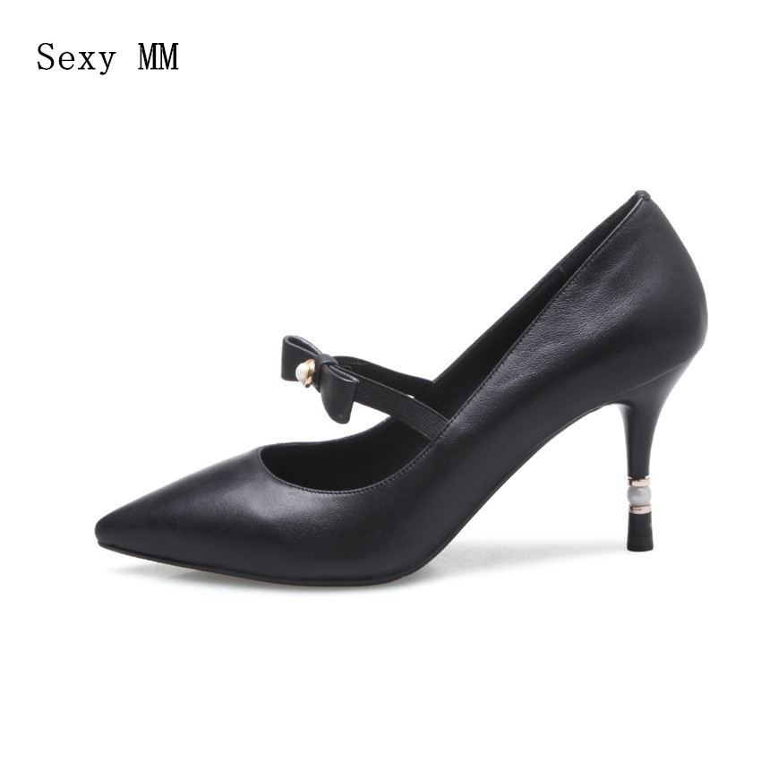 Genuine Leather Stiletto High Heels Women Pumps Woman High Heel Wedding Party Shoes Kitten Heels Plus Size 33 - 40 High Quality women stiletto square heel high heels wedding shoes pointed toe patent leather fashion pumps heels shoes size 33 40 p22810