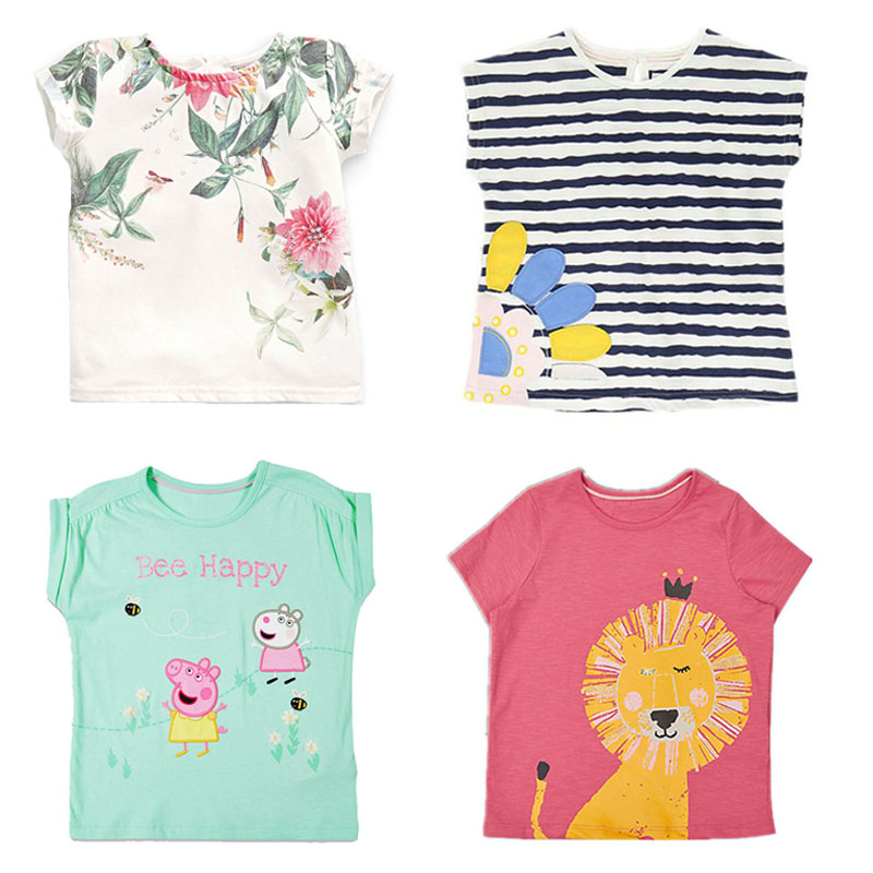 New 2018 Brand Quality 100% Cotton Baby Girls t Shirts Summer Children Clothing Bebe Short Sleeve Kids T-Shirt Baby Girl Clothes bird printing kids short sleeve t shirts streetwear homme summer t shirt 2018 casual o neck t shirt children baby girl clothes