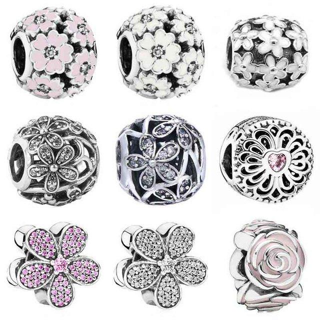 18ddde676 Pink Enamel Dazzling Daisy Primrose Meadow Rose Garden Charm Fit Pandora  Bracelet 925 Sterling Silver Bead