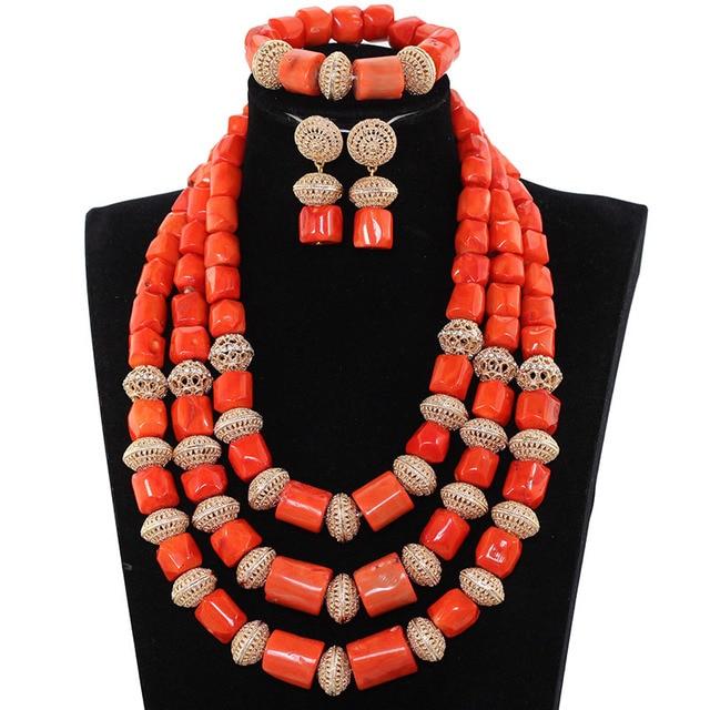 תכשיטי חרוזים אלמוגים החדש האפריקאי הגדול Fabulous כלה מסורתית ABH583 מתנת סט שרשרת נשים תלבושות אלמוגים אמיתיים באיכות